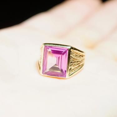 Vintage 14K Gold Pink Topaz Cocktail Ring, Gorgeous Gold Emerald Cut Gemstone Ring, Textured Gold Ring With Large Pink Stone, Size 5 3/4 US by shopGoodsVintage