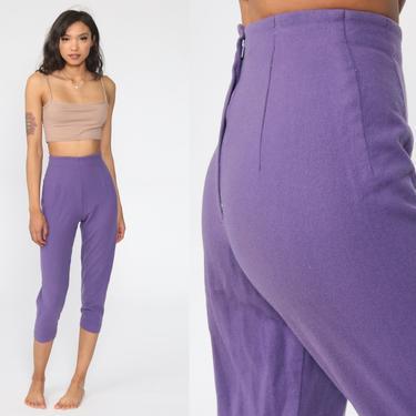 50s Capri Trousers Purple Wool Pants 1950s Pants Super High Waist Cigarette Pants Skinny Cropped Pants 1960s Vintage 2xs xxs by ShopExile