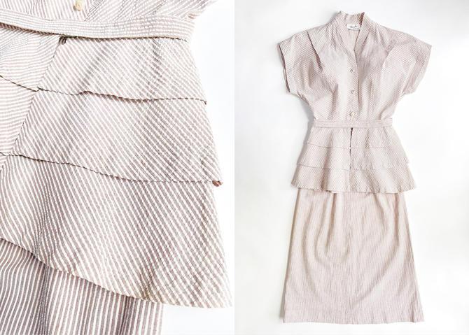 1940s Brown + White Stripe Seersucker Peplum Dress Suit Nardis by hemlockvintage