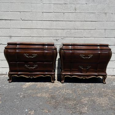 Pair of French Nightstands Beside Wood Tables Karges Provincial Bombe Rococo Baroque Chest Storage Furniture Bedroom CUSTOM PAINT AVAIL by DejaVuDecors