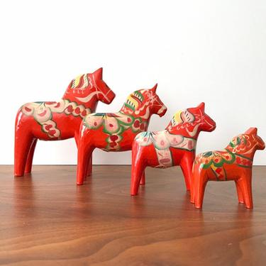 Vintage Hand-painted Swedish Dala Horses by Nils Olsson * Set of 4 by TheThriftyScout