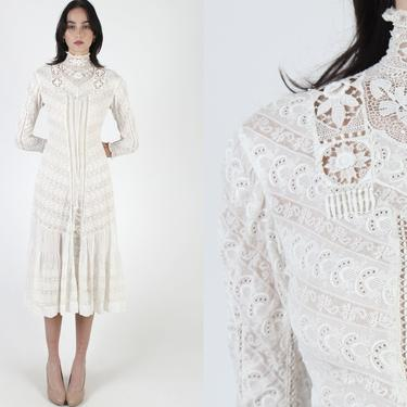1900s Era White Edwardian Maxi Dress / 1920s Lace Delicate Victorian Inspired Dress / Vintage 20s Floral Embroidered Dress by americanarchive