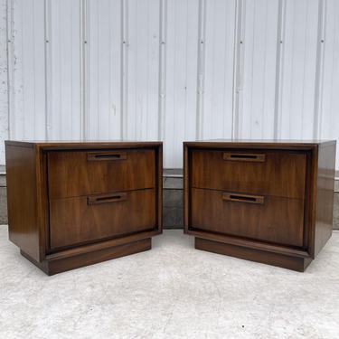 Pair Mid-Century Walnut Nightstands by United by secondhandstory
