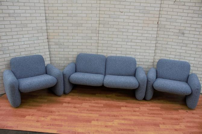 Mid Century Modern Ray Wilkes For Herman Miller Blue Chiclet Sofa, Loveseat and Two Lounge Chairs Newly Fully Upholstered - 4 Piece Set