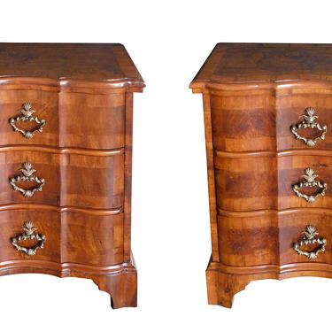 Pair of Continental Baroque Style Walnut 3-Drawer Arbalète-form Commodes