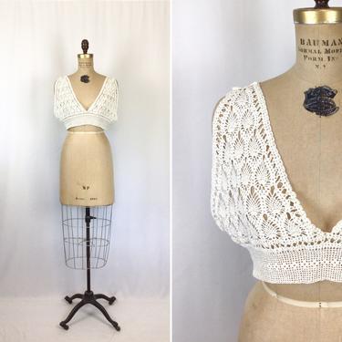 Vintage Edwardian crochet yoke | Vintage boho style cream crochet camisole top | 1900s cream cotton crochet cami top by BeeandMason
