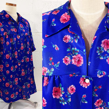 Vintage Snap Front Shirt Haband Mod Blouse Pockets Oversized Comfy Flowy Top Short Sleeved Floral Flowers Plus Size Volup 4XL 4X XXXXL by CheckEngineVintage