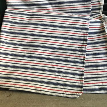 French Linen Ticking Fabric, Blue Red Stripe, 6 yards, Sewing Upholstery Projects, French Fabric Textiles by JansVintageStuff