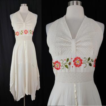 Vintage Boho White Handkerchief Hem Halter Dress with Embroidery and Smocked Back - Small Summer Sundress 70s Hippie Bohemian Dress by JanetandJaneVintage
