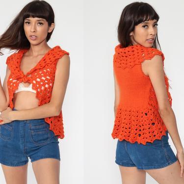 Crochet Vest Orange Knit Top 70s Hippie Boho Vest Open Weave Sheer 1970s Vintage Bohemian Sleeveless Sweater Extra Small xs by ShopExile