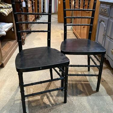 """Black painted ballroom chairs. 6 available 16.5"""" x 16.5"""" x 36"""" seat height 17"""""""