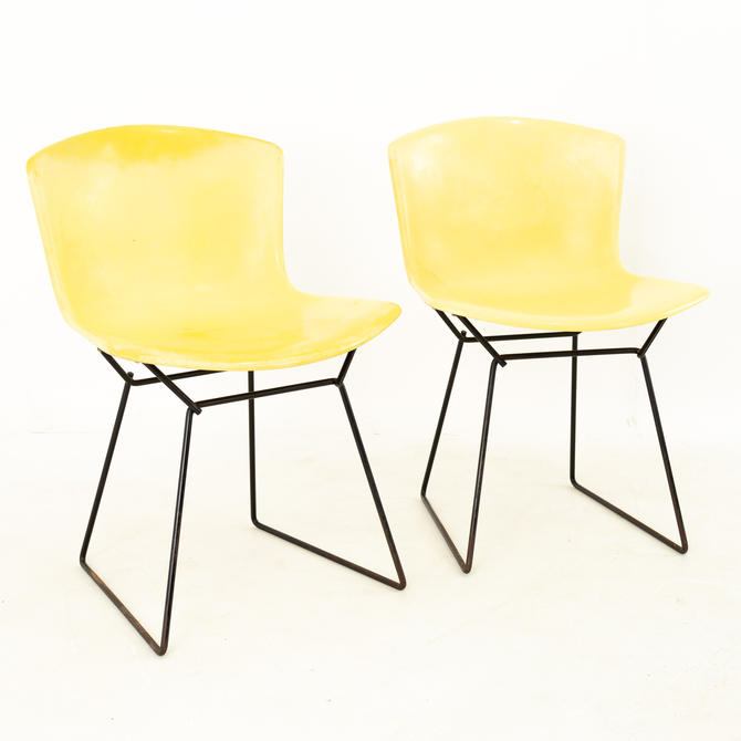 Harry Bertoia for Knoll Mid Century Fiberglass Occasional Chairs - Pair - mcm by ModernHill