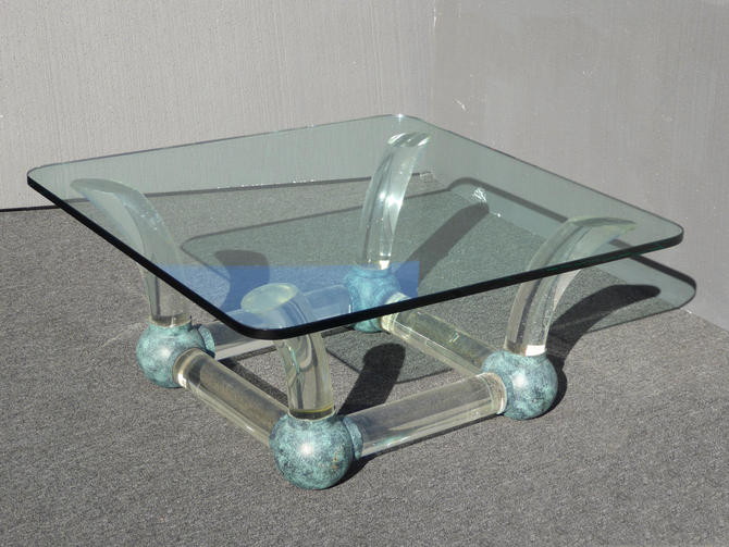 Vintage Mid Century Modern Coffee Table Lucite Sabre Legs & Turquoise Ball Feet by VintageLAfurniture