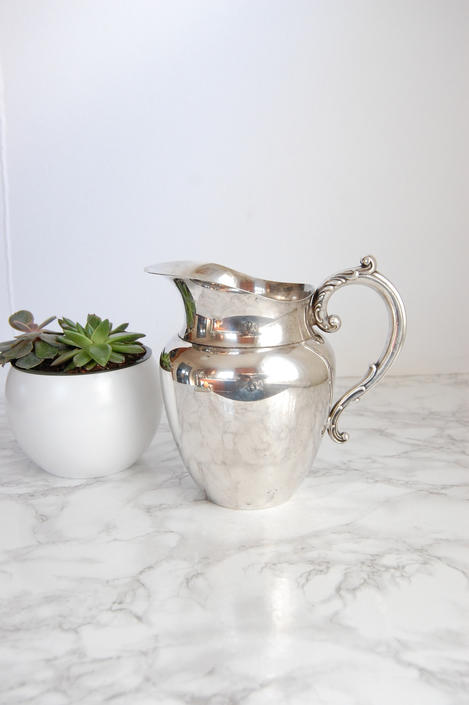 Silverplate Pitcher - Silver Plate Pitcher - Vintage Silver Water Pitcher by PursuingVintage1