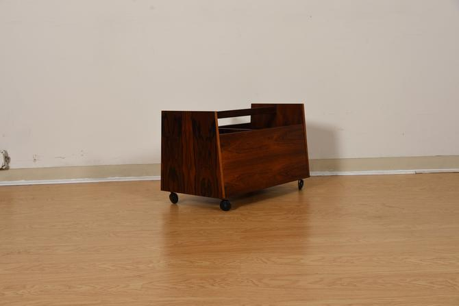 Gorgeous & Functional  Danish Rosewood Vinyl + Magazine Cart  More Pics to Come!