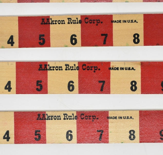 """Vintage Aakron Rule Corp. Ruler Made in USA """"One Foot"""" Red & Natural Birch Color w/ Alphabet Wood Retro Craft Supply Back to School Teacher by LostandFoundHandwrks"""