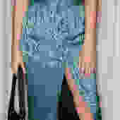 Vintage Turquoise Jacquard High Waist Skirt