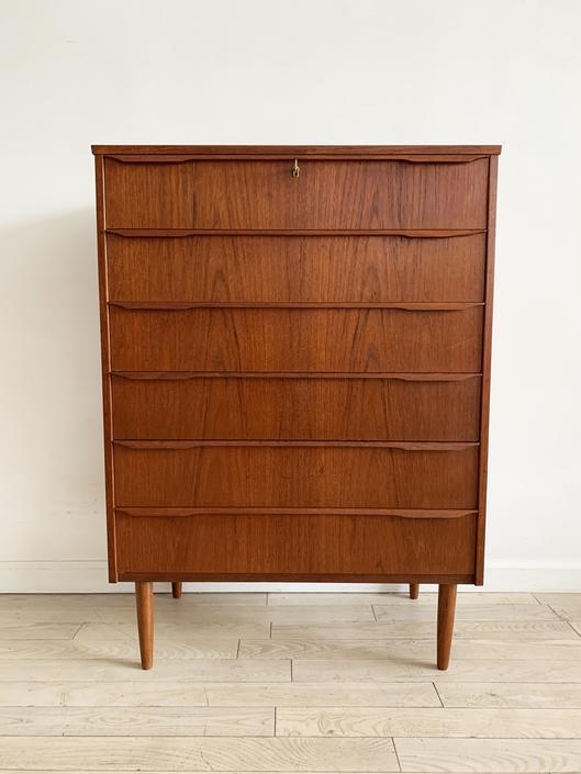 Mid Century Teak 6-Drawer Tallboy Dresser, Denmark 1960s
