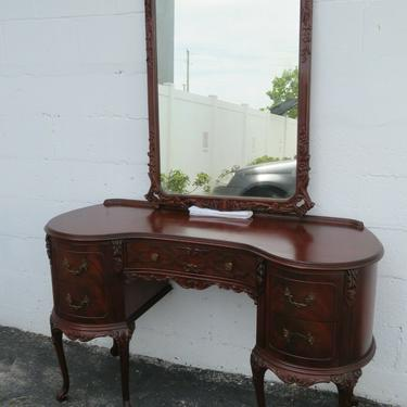 Hand Carved Flame Mahogany Writing Office Bedroom Vanity Desk with Mirror 2228