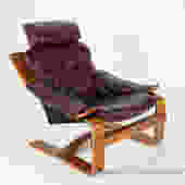 Scanform Leather and Bentwood Armchair