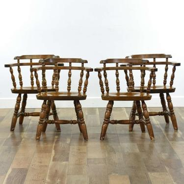 Set Of 4 American Colonial Style Captain Dining Chairs