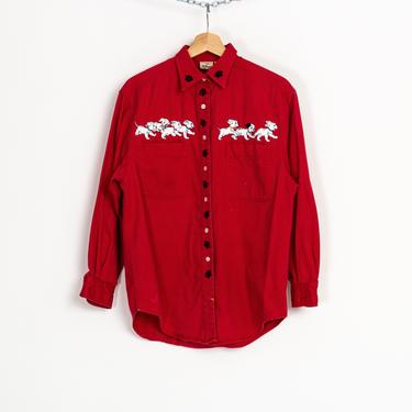 90s 101 Dalmatians Red Button Up Shirt - Men's Small   Vintage Cotton Twill Disney Embroidered Puppies Long Sleeve Top by FlyingAppleVintage