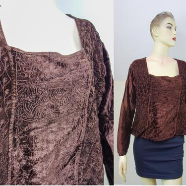 Vintage 90s embroidered boxy top size small or medium, flare long sleeve velour earthy witchy hippie pullover loose shirt made in india by forestfathers