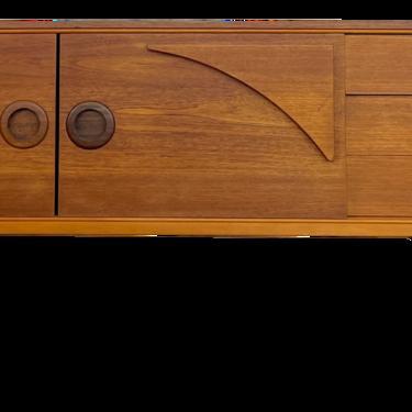 1960s Mid Century Teak Credenza With Sculptural Designs