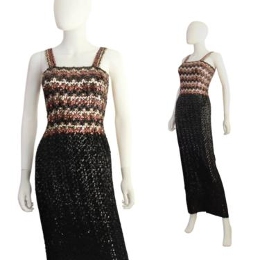 1960s Black Gold & Bronze Sequin Wiggle Dress - 60s Sequin Wiggle Dress - Vintage Sequin Wiggle - 60s Evening Gown   Size XS / Small by VeraciousVintageCo