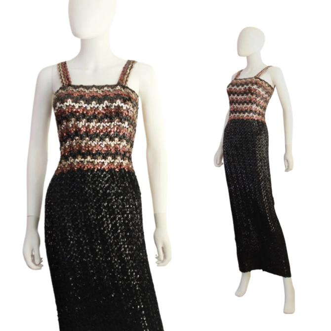 1960s Black Gold & Bronze Sequin Wiggle Dress - 60s Sequin Wiggle Dress - Vintage Sequin Wiggle - 60s Evening Gown | Size XS / Small by VeraciousVintageCo