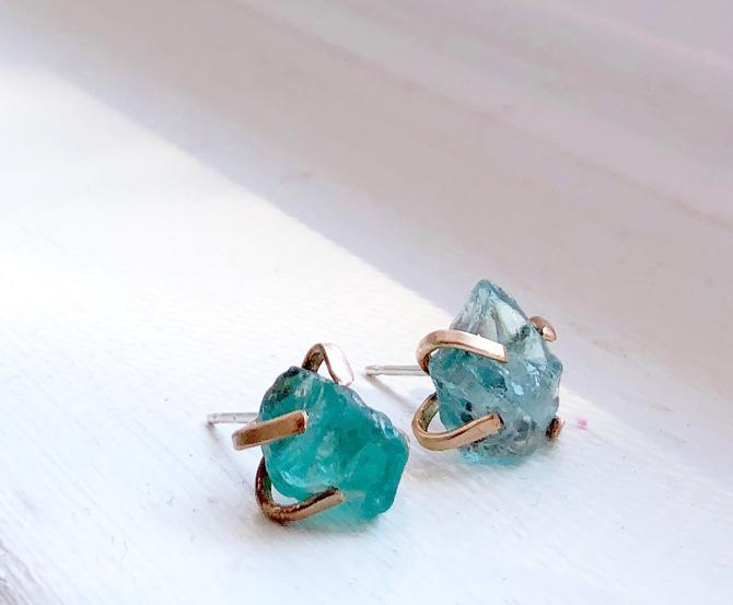Rough apatite gemstone prong studs in 14k gold fill wire handmade settings with sterling posts by RachelPfefferDesigns