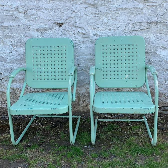 Pair of Vintage Spring Chairs in Bright Cheerful Turquoise