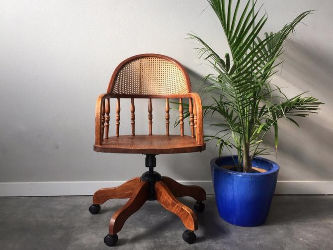 vintage cane desk chair