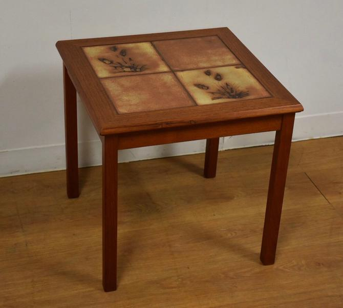 Teak and Tile Danish End Table by mixedmodern1