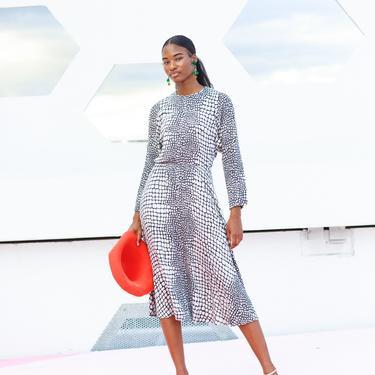 40s Grey Snake Print Bias Cut Dress Vintage Long Sleeve Formal Dress by AppleBranchesVintage