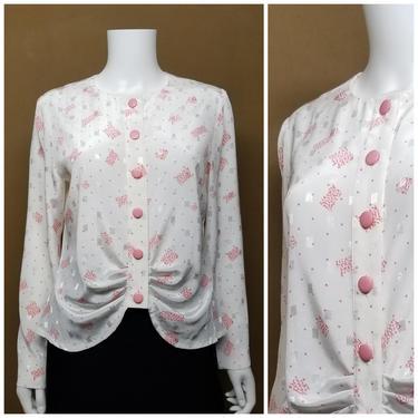 Vintage 80s Pink  White Novelty Print Blouse ~ Medium ~ Silky White Geometric Print Blouse ~ Long Sleeve Button Down Blouse Shirt Top by SoughtClothier