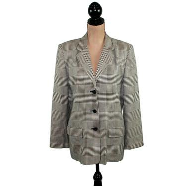 Black & White Plaid Blazer Size 12, Houndstooth Jacket Women Large with Shoulder Pads, 1990s Clothes 90s Vintage Clothing from Talbots by MagpieandOtis