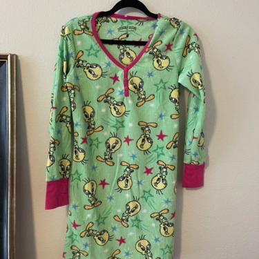 3) vintage tweety bird looney tunes nightgown long sleeve mini dress lime green cartoon by GRACEandCATS