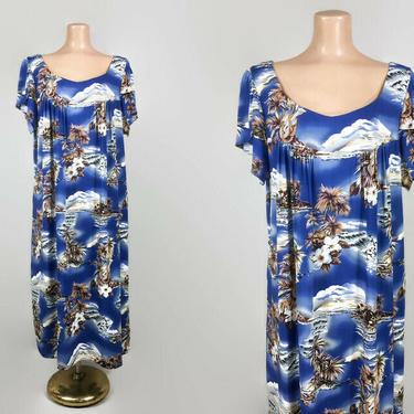 VINTAGE 1980s Hilo Hattie Hawaiian Ukulele Print Muumuu Dress   80s Tropical Kaftan   Split Tulip Sleeves   Rayon Luau Swim Cover Up XL by IntrigueU4Ever