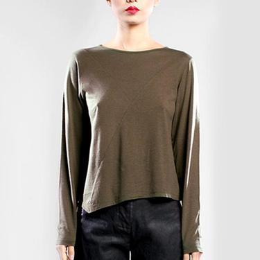Asymmetric Long Sleeve T-Shirt in HAZEL or BLACK