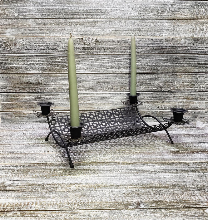 Vintage Candlestick Holder, Black Metal Mesh, Mid Century Modern Candles Holder, Black Iron Table Top Tray Centerpiece, Vintage Home Decor by AGoGoVintage