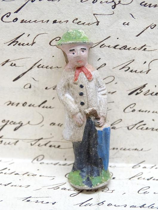 Antique Miniature French Hand Painted Composite Man with Umbrella, Vintage Toy  for Putz or Nativity,  Doll House by exploremag