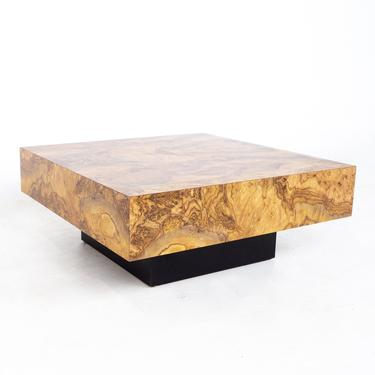 Milo Baughman Style Mid Century Burlwood Laminate Pedestal Coffee Table - mcm by ModernHill