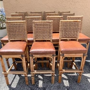 Rattan, Seagrass and Leather Palecek Bar Stools