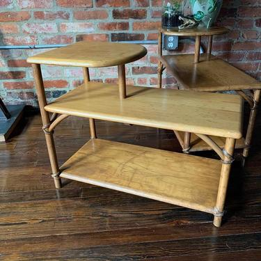 Heywood Wakefield rattan wrapped end tables