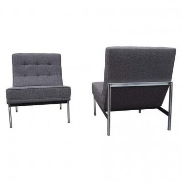 Pair of Parallel Bar Lounge Chairs, Model 51, by Florence Knoll