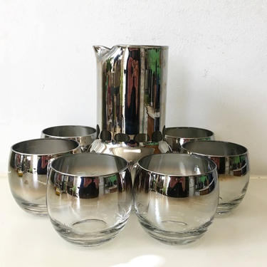 Vintage Silver Ombre Glasses Fade Roly Poly Lowball Rocks 1950s Mad Men Retro Barware Cocktail Mid-Century Modern