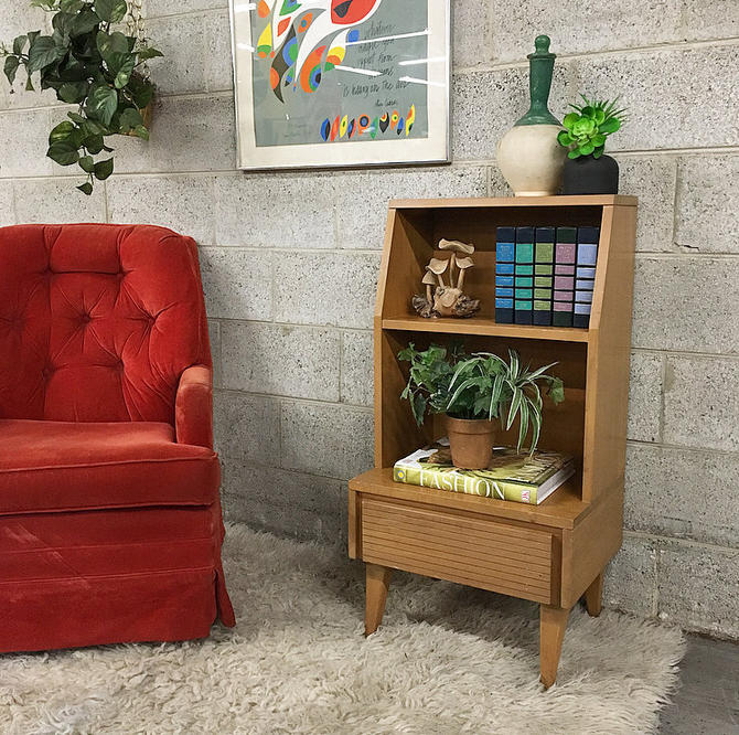 LOCAL PICKUP ONLY Vintage Nightstand Retro 1960's Mid Century Modern End Table with 3 Shelves and 1 Drawer for Bedroom or Living Room by RetrospectVintage215