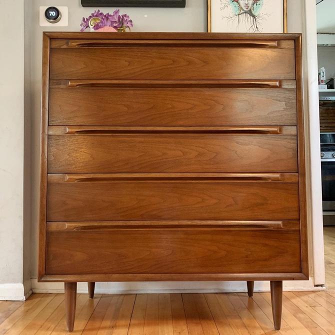 Mid-Century 5 Drawer Tallboy Dresser