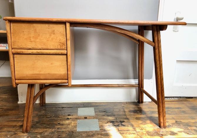 Vintage Maple & Bent Oak Desk by Heywood Wakefield